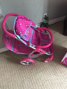 Children's doll double stroller and double bassinet.