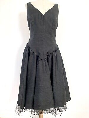 80s Dresses   Casual to Party Dresses Vintage 1980s Dress Black Taffeta Tulle Party Prom Evening Goth Bridesmaid $35.22 AT vintagedancer.com