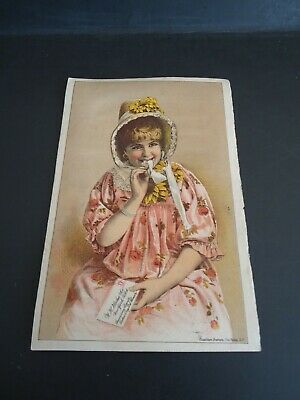"Vintage 1890's Trade Card "" ACKER'S BLOOD ELIXIR"" 7 x 4.5 Inches W.J. Hooker Co"