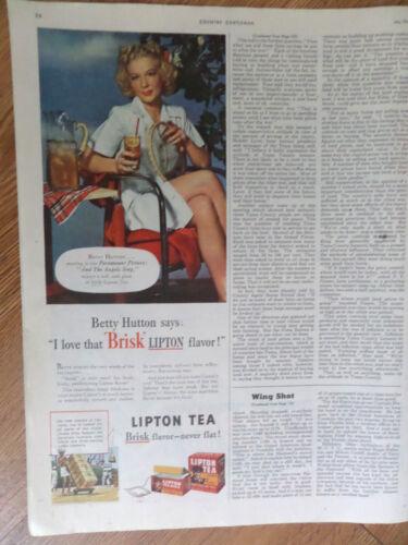 1944 Lipton Tea Ad  Hollywood Movie Star Betty Hutton