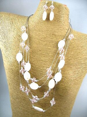 Beaded Shell Jewelry Set (Gorgeous Shell Crystal Beads Necklace Earring Set Costume Fashion Jewelry )