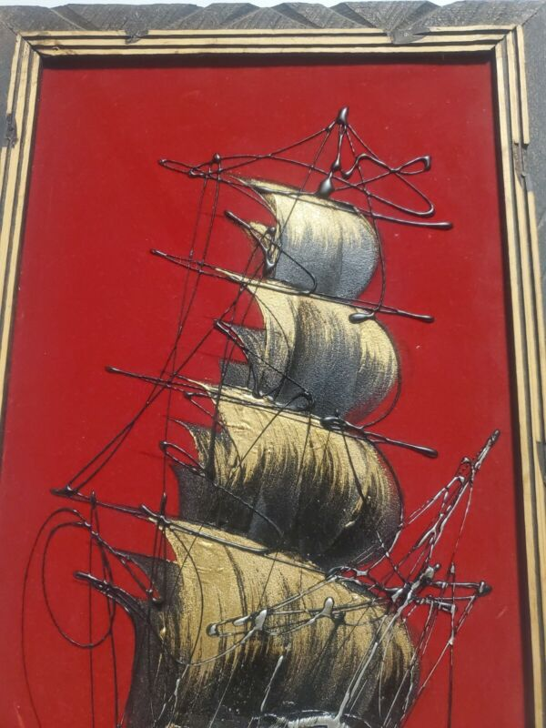 Vtg Pirate Ship Raised Painting On Red Velvet Canvas Wooden Frame Made In Mexico