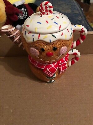 Gingerbread Man Tea Pitcher With Lid-New With Box!! Gingerbread Man Box
