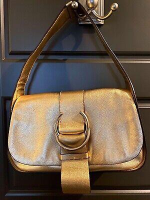 PRADA Handbag Authentic Vintage Gold Metallic Leather