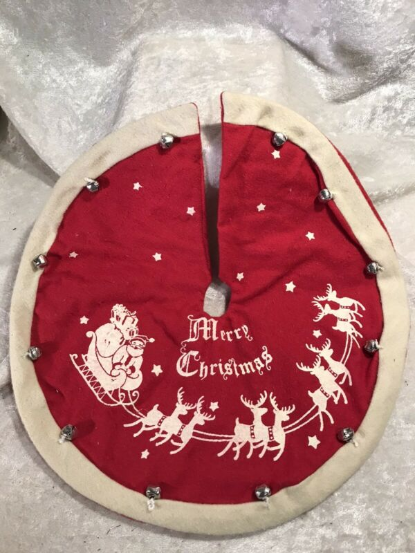 """Primitives By Kathy Miniature 12"""" Merry Christmas Tree Skirt"""
