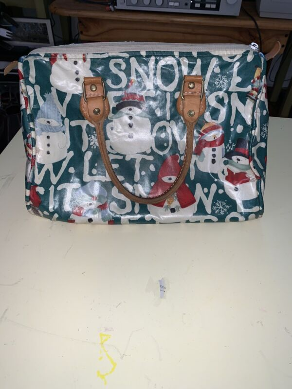 Gloria Rae Vinyl Snowman-Let It Snow-Leather Handle Shoulder Bag USA!