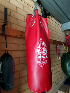Filled punching bag with stand and gloves.