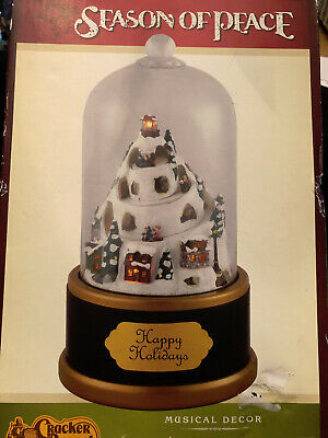 Mr. Christmas Animated Musical Snow Globe Grand Cloche Holiday Hill 2010 NEW!