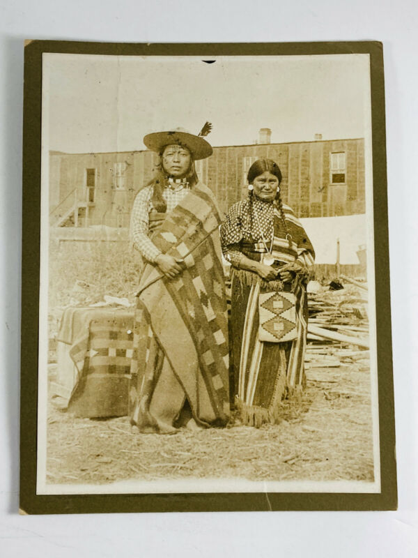 Piegan Blackfoot Indian Native American Chief & Wife Cabinet Card Montana MT
