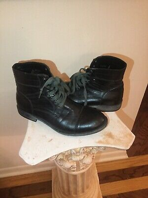 Kenneth Cole Reaction Step On It Cap Toe Black Lace Up Combat Boots / Men 11 M Kenneth Cole Reaction Step
