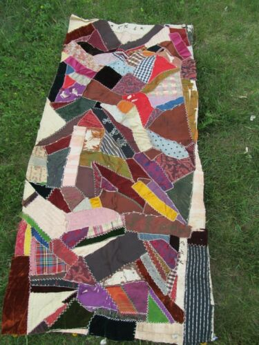 LG Panel of ANTIQUE PATCHWORK QUILT, c1890, Perfect for Repairs & Craft Projects