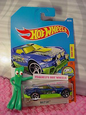 RALLY CAT #305>^..^<Blue/Green;mc5;15✰Digital Circuit✰2017 i Hot Wheels Case N/P