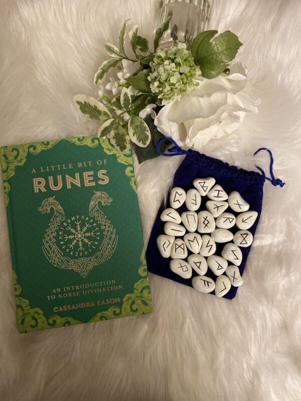 WHITE RESIN RUNE SET 25 pc Elder Futhark Tile with Free Rune Book & Poster
