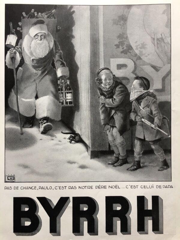 Christmas 1938 BYRRH Vintage French Print Ad Santa Claus Kids Aperitif Wine