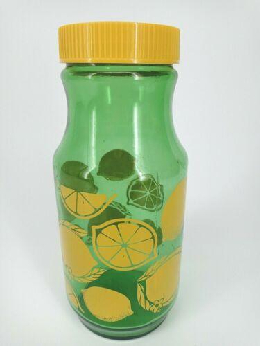 Lemon Juice Jar Carafe Vintage Anchor Hocking Green Lemonade Glass Pitcher Lid