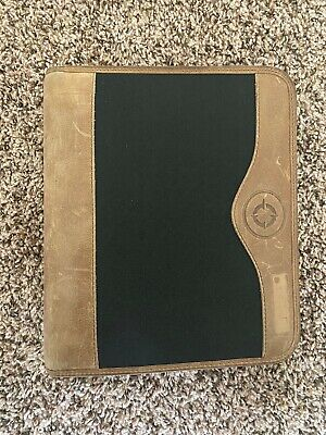 Franklin Covey Green Line Black Brown Leather Planner Binder Zip Compact 1.25