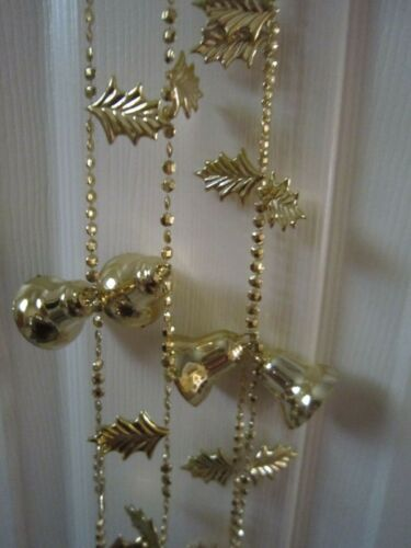 Lot of two 9 ft. Vintage Hard Plastic Gold tone Christmas Bells & Holly Garland
