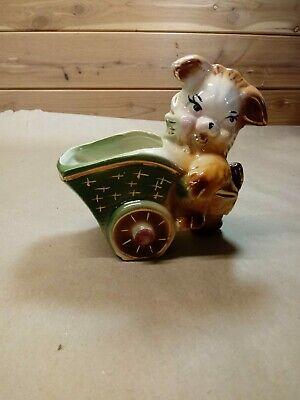 Vintage Ceramic Dog Planter Pulling Wagon/Cart