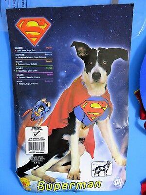 Dog Costume SUPERMAN 3 Piece Medium Rubies #881581 DC Comics Gently Used IOP
