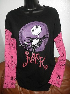 Ladies Long Slv Top, Jack Skellington, Disney Nightmare Before Xmas, Jrs. XXL