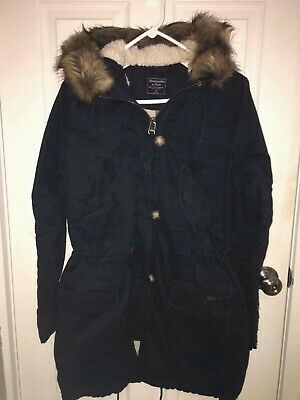 NWT Abercrombie & Fitch SHERPA-LINED TWILL PARKA HOODED FAUX FUR JACKET S Navy Heavyweight Lined Parka