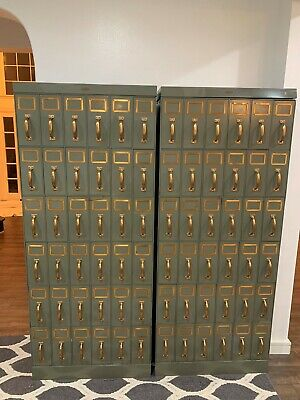 Vintage Industrial Filing Cabinet Set Of 2 Each With 26 Drawers