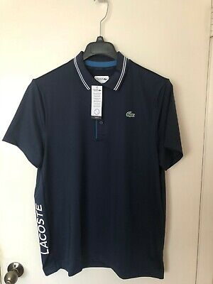 NWT LACOSTE SPORT MEN'S POLO SHIRT POLYESTER ULTRA DRY NAVY BLUE WHITE
