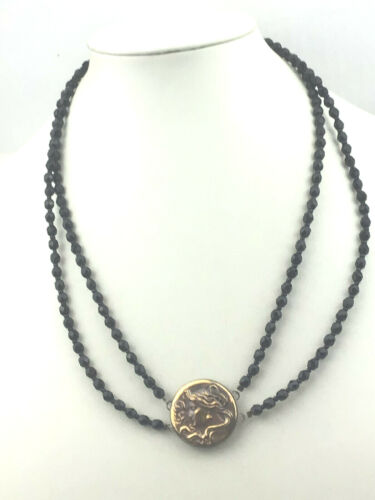 Vintage Inspired Necklace Brass Stamping Art Nouveau Lady Flowing Black Multi 1