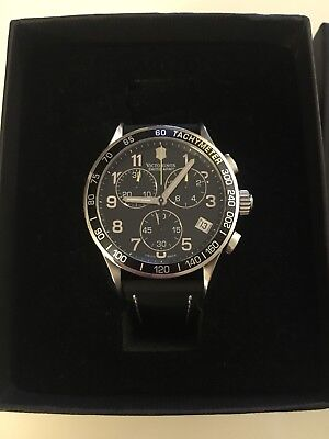 *Victorinox Swiss Army 241316 Stainless Steel Leather Band Chronograph Watch