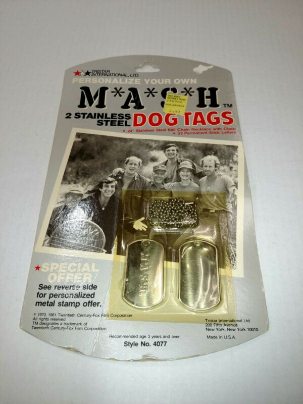 """1981 MASH TV SHOW 2 STAINLESS STEEL DOG TAGS WITH 24"""" CHAIN NEW"""