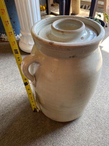 """Antique 14"""" 3 Gallon Salt Glazed Butter Churn original hand made antique"""