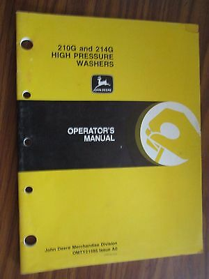 John Deere 210g 214g High Pressure Washer Operators Manual