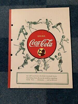 Vintage 1950's Coca-Cola Notebook School Sports Figures Tablet Drink COKE Adv