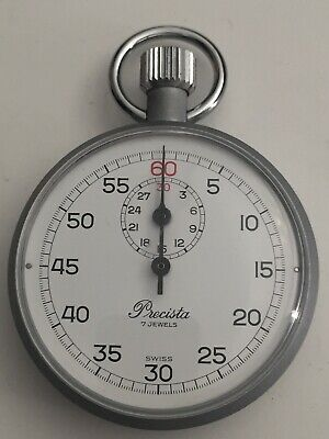 """New """"PRECISTA"""" 7 Jewels Swiss Mechanical Move Stop Watch In Good Working Order"""