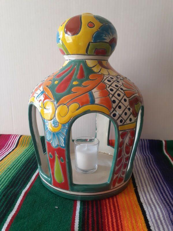Mexican Talavera Yard Art Pottery Birdfeeder Candle Dome Feeder