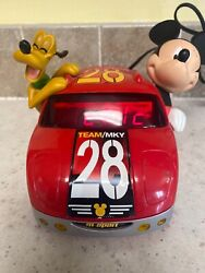 Disney Team/Mky #28 Red Car Alarm Clock with Mickey Mouse & Pluto Digital Clock