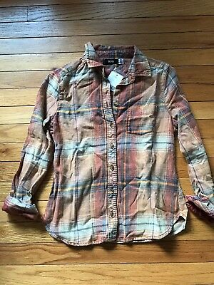 Nwt Urban Outfitters Bdg Orange Flannel   Plaid Button Front Shirt Size Small