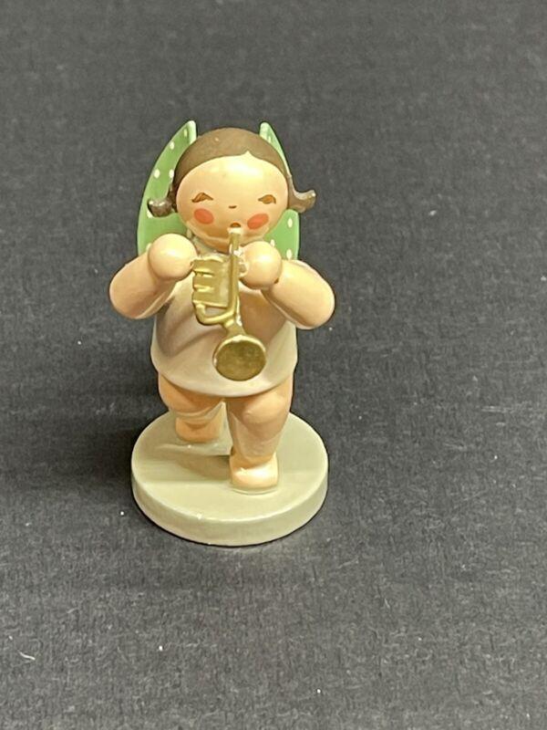 ERZGEBIRGE Wendt Kuhn Musical Blonde Angel w/Trumpet Germany Christmas Figurine