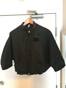 WOMENS XS G STAR RAW QUILTED BOMBER JACKET COAT BLACK