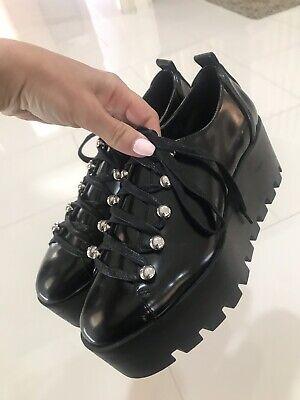 Zara Lace Up Platform Shoes In Black Size 7.5
