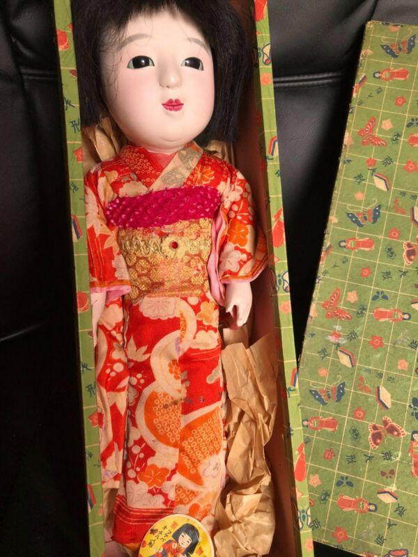 Antique 15 inch Japanese Ichimatsu girl doll with original box