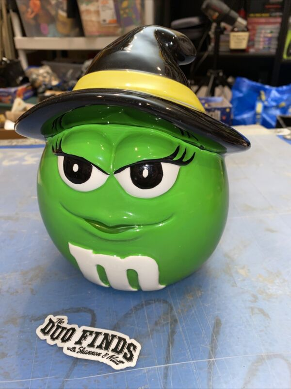 2002 Galerie M&M's Halloween Green Witch Ceramic Candy Container