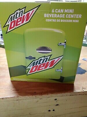 Mountain Dew 6 Can Mini Refrigerator Fridge Beverage Center Wall & Car Cable New