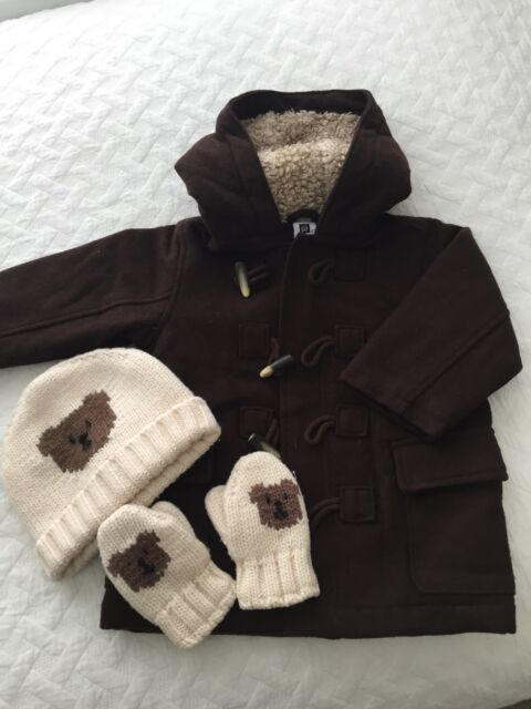 d1b7dc140d81 Toddler Boys GAP Woollen Pea Coat Hat   47  Mittens