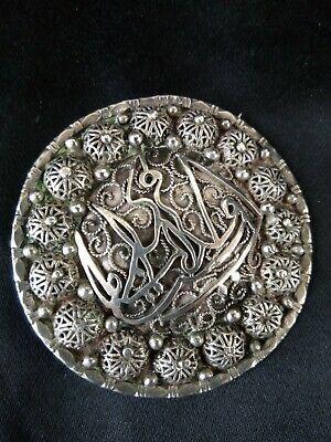 Antique Brooch Pendant Berber Silver Tone Filigree & Peach Enamel