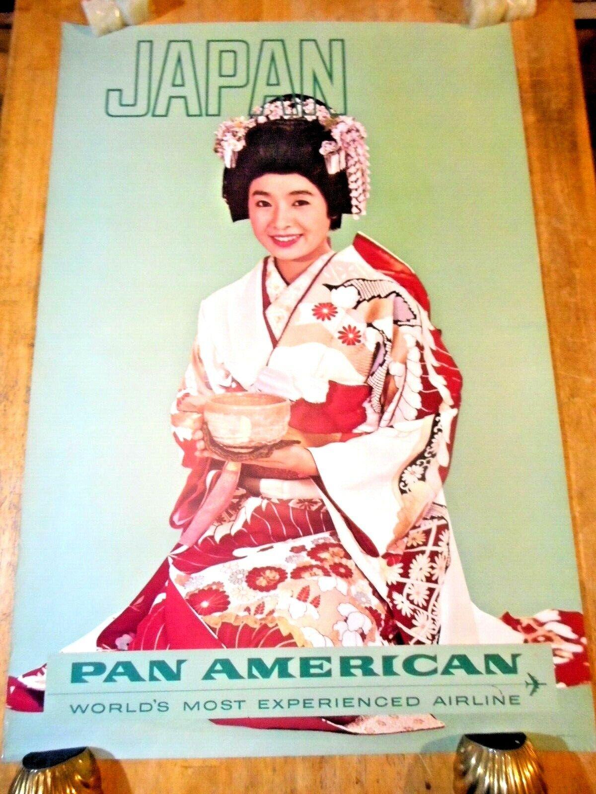 C 1960S JAPAN PAN AM AIRLINES ORIGINAL TOURIST TRAVEL POSTER PRETTY GEISHA W TEA - $9.95