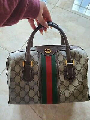 Gucci vintage GG web boston bag handbag