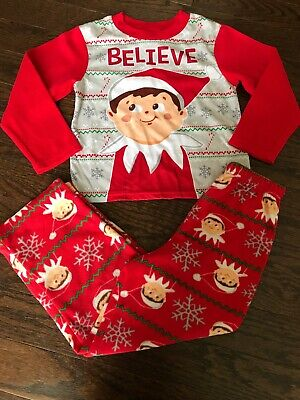 Elf On The Shelf Boys 8 Fleece Pajamas Christmas Holiday Red Believe EUC