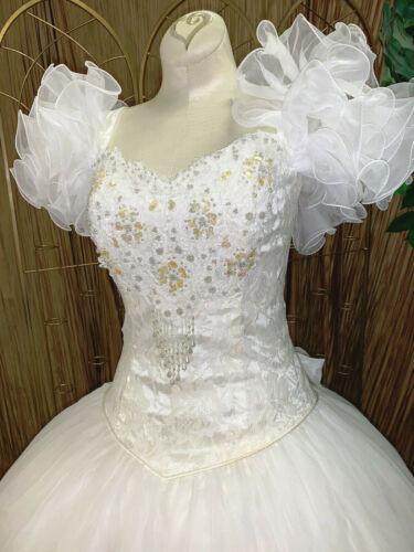 VINTAGE LIZETTE CREATIONS WHITE CHIFFON WEDDING DRESS GOWN RENAISSANCE FAIRE 10