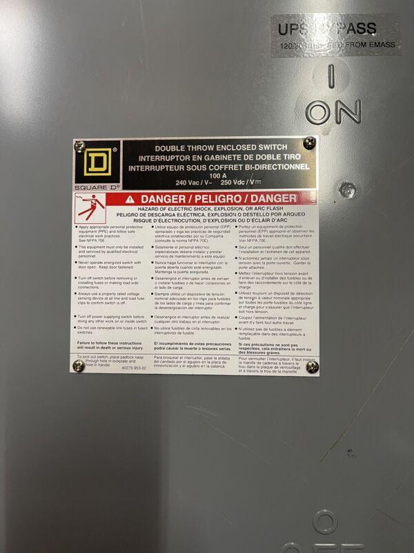SQUARE D SQD DTU323 100A Generator Transfer Switch